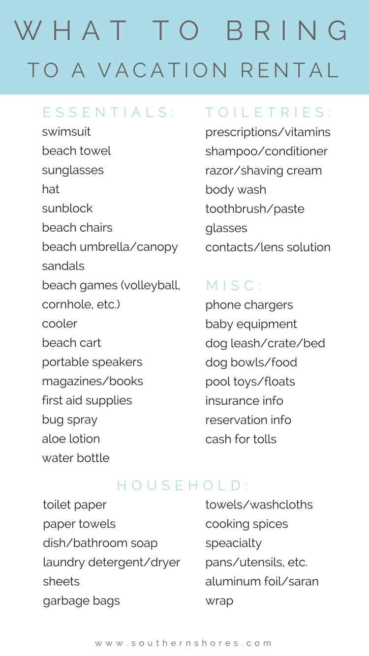 The Outer Banks Vacation Rental Packing List Southern Shores Realty Blog