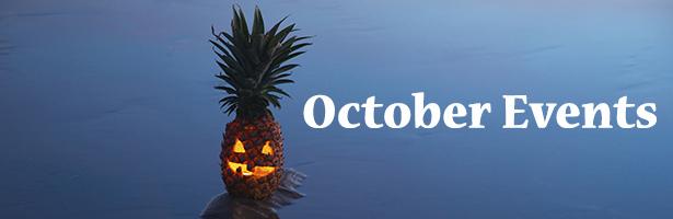 Jack o lantern halloween pinapple with reflection