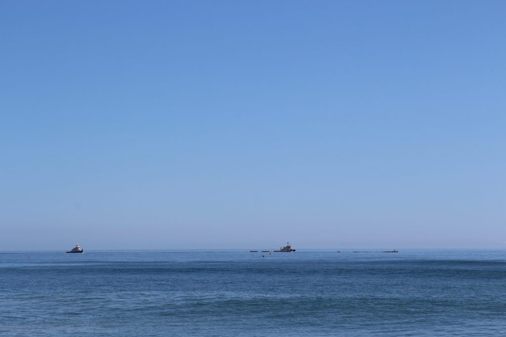 view of beach replenishment barges from the kill devil hills beach in the outer banks