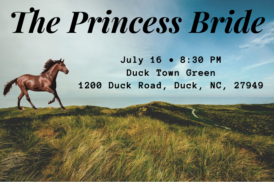 horse on landscape with event details